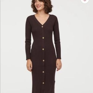 New H&M brown ribbed fitted stretch dress.